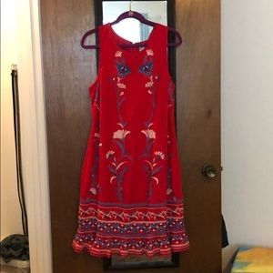 Anthropologie Akemi + Kin red embroidered dress